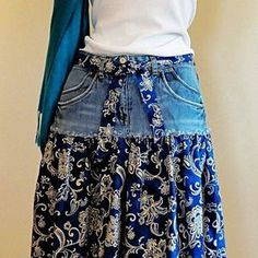 Easy fitness 313070611593406076 - Jean Skirt -Upcycled Denim and Printed Cotton Source by sinvogt Sewing Jeans, Sewing Clothes, Diy Fashion, Ideias Fashion, Thrift Store Diy Clothes, Artisanats Denim, Denim Skirt, Trash To Couture, Shirt Makeover