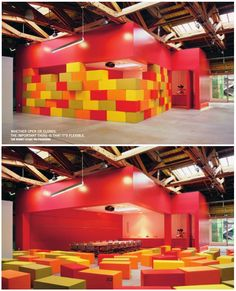 Great idea! From meeting space to presentation and events area with a high kick to the wall... and seating for 50 to boot.