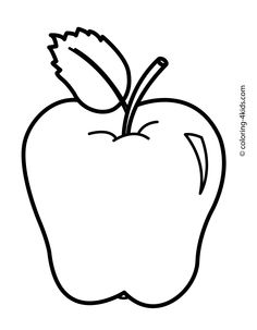 Apple Fruits with leaf coloring pages simple for kids, printable free