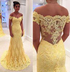 yellow lace long prom dress, lace evening dress, yellow formal dress