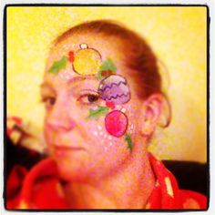 Christmas Baubles and Holly facepaint