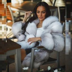 Image may contain: one or more people, people sitting and cat Fur Fashion, Winter Fashion, Womens Fashion, Chinchilla, Fox Fur Coat, Fur Coats, Bad And Boujee, Fabulous Furs, White Fur