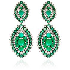 Nam Cho Emerald Riviera Earrings (4,980,260 DOP) ❤ liked on Polyvore featuring jewelry, earrings, studded jewelry, emerald jewellery, 18 karat gold earrings, nam cho jewelry and fine emerald jewelry