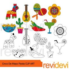 Cinco De Mayo Fiesta clip art set includes 8 colored graphics and another 8 in black and white outline. A great collection for Mexican theme projects. Sombrero, cactus, guitar, pinata horse, flower, drink, are among the images.Great resource for any school and classroom projects such as for creating bulletin board, printable, worksheet, classroom decor, craft materials, activities and games, and for more educational and fun projects.You will receive:- Each clipart saved separately in PNG…