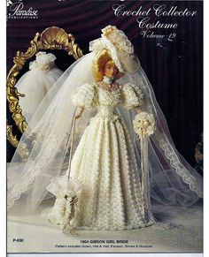Nineteenth in the series of crochet Collector Costumes is an exquisite 1904 Gibson Girl Bride. This vintage reproduction is designed with