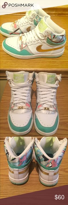 567a439d78dc Nike Dunk 6.0 High Top Sneakers These lightly used Nike Dunk 6.0 sneakers  are in excellent condition. They are white and turquoise patent leather with  a ...