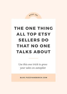 "The one thing all top Etsy Sellers do that no one talks about - My job is a little weird. As an Etsy Business Coach, I basically listen to super talented people tell me all the reasons they can't manage to make money. And the #1 complaint I hear all the time? ""Why the HELL is everyone and their mother making a million sales on Etsy, and I've got NOTHING??? My product is better, my photographs are awesome, my SEO is perfect! What the F*CK gives???"" -- find out what you need to do to shift…"