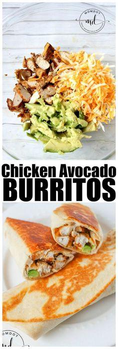 Chicken Avocado Burrito Wraps - easy dinner recipe - I would use brown rice wraps, vegan cheese shreds and fresh guacamole instead of sour cream! Lunch Recipes, Easy Dinner Recipes, Mexican Food Recipes, Cooking Recipes, Healthy Recipes, Burrito Recipes, Easy Dinners, Dinner Recipes With Avocado, Easy Avocado Recipes