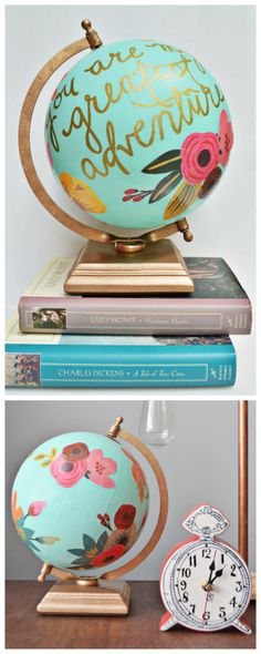 DIY Anthropologie Wanderlust Globe With a little spray paint, gift wrap, paint pen and other odds and ends, you can make this DIY Anthropologie Wanderlust Globe. *TIP: You can find cheap globes for t