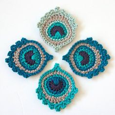 Crochet Motif or Garland: Small Peacock Featherby Christa Veenstra via Ravelry.  This pattern is available to buy now.