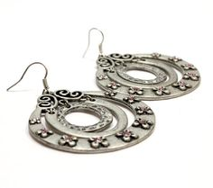 Items similar to Big Bold Three Circle Metal Earrings. 3 Round Pieces with Baby Pink Crystals. on Etsy Tarnished Silver, Silver Metal, Crystal Earrings, Silver Earrings, Metal Jewelry, Unique Jewelry, Ear Rings, Stone Pendants, Jewelry Supplies