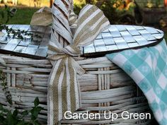 the ribbon followed by vintage linens pulled this picnic basket into a statement of time spent together.