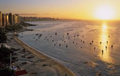 Imagine yourself here, chillin on the beach, sipping on a caipirinha, waiting for the next World Cup match. Fortaleza is hosting 4 group matches, 1 round of 16 and 1 quarter-final. World Cup Match, World Cup 2014, Places To Go, Sunset, City, Beach, Water, Outdoor, Terra