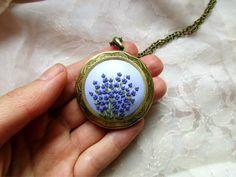 MADE TO ORDER Lavander polymer clay locket handmade jewelry