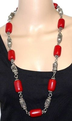Vintage Couture Etruscan Revival Red Lucite Silver Filigree Bead Necklace