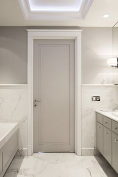Mirrored bathroom in bright colors – Architecture, interiors, technology, design – HomeSquare The Effective Pictures We Offer You About Home Grey Interior Doors, Interior Door Colors, Interior Door Styles, Painted Interior Doors, Door Design Interior, Grey Doors, Home Room Design, Bathroom Interior, House Design