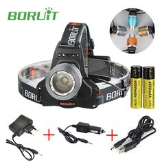 Boruit RJ-2800 Zoomable Headlight T6 LED Headlamp 2000 Lumens Flashlight Head Lamp with 2x 18650 Battery and Charger for Hunting #Affiliate