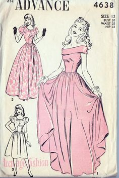 1940s Teen Evening Gown, Off the Shoulder, Prom Dress, Bridesmaid Dress, Vintage Sewing Pattern, Advance 4638 bust 30""