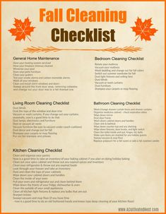 Fall Cleaning Checklist, Cleaning Schedule Printable, Deep Cleaning Tips, House Cleaning Tips, Diy Cleaning Products, Cleaning Hacks, Spring Cleaning Schedules, Fall Checklist, Clean Bedroom