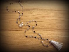 Items similar to Handmade beaded suede tassel rosary necklace . on Etsy Rosary Necklace, Beaded Necklace, Necklaces, Bracelets, Tassels, Delicate, Trending Outfits, Unique Jewelry, Handmade Gifts