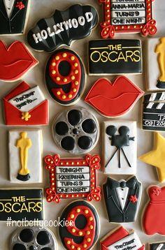 2 Dozen Hollywood Movie Award Show Sugar Cookie Collection Happy Birthday Cookie, Sweet 16 Birthday, Birthday Cookies, 40th Birthday, Hollywood Cake, Hollywood Theme, Hollywood Sweet 16, Hollywood Birthday Parties, Sweet 16 Themes