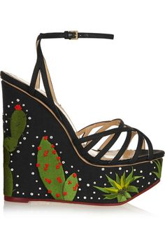 Love these shoes by CHARLOTTE OLYMPIA Celebration Meredith Embellished Linen Sandals - $1395