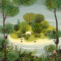 garden illustration garden illustration Jane Newland, British illustrator: The Island Art And Illustration, Landscape Illustration, Landscape Art, Illustrations Posters, Guache, Naive Art, Pics Art, Art Portfolio, Whimsical Art