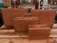 Vintage Hartmann Luggage Set / Turquoise Leather 3 Piece Set with ...