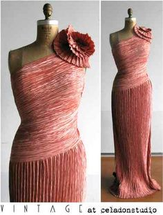 Vintage Mary McFadden One-Shoulder Evening Gown Pleated 1980s Size 8
