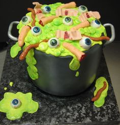 """""""Pot o'Gross Stuff"""" cake!  Hand modelled eyes, severed fingers, worms and, yes, used bandaids!"""