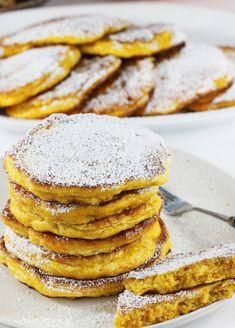 Placki z dyni | AniaGotuje.pl Dairy Free, Gluten Free, Sugar Free, Pancakes, Food And Drink, Pumpkin, Meals, Cooking, Breakfast