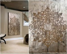 Avignon Ceiling Medallion Stencil ♡ Elegant and Captivating Wall Stencils and Home Decor Projects and DIY Metallic Wall Art Ideas - Royal Design Studio. Stencil Wall Art, Diy Wall Art, Stencil Diy, Ceiling Design, Wall Design, Diy Casa, Metal Tree Wall Art, Metal Art, Royal Design