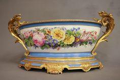 French Sevres C. Porcelain Painted w/ Bronze Handles Fine Porcelain, Porcelain Ceramics, China Painting, Fine China, Earthenware, Bronze, Hand Painted, Mantle Clock, Serving Plates