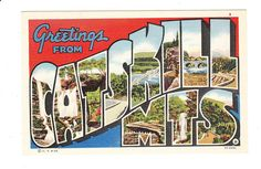 Greetings from Catskill Mountains New York Large Letter Vintage Postcard (unused)