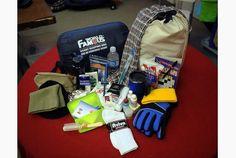 Clockwise from top right: scarf, $10; sports bag/back pack, $30; head bands, $10; travel mug, $11; gloves, $5; socks, $3; rain poncho, $1; hat, $10; neck warmer, $10; sleeping bag, $45.