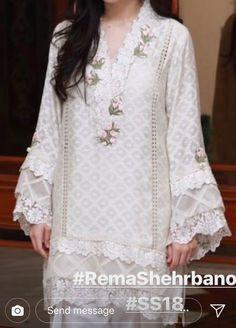 Neckline flowers Salwar Designs, Kurti Neck Designs, Dress Neck Designs, Kurta Designs Women, Kaftan Designs, Pakistani Fashion Casual, Pakistani Dresses Casual, Pakistani Dress Design, Casual Dresses