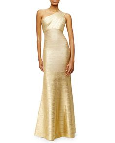 One-Shoulder Bandage-Knit Gown, Gold by Herve Leger at Bergdorf Goodman.