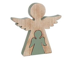 Statuina decorativa in legno Angel Twin, 20x20x2 cm