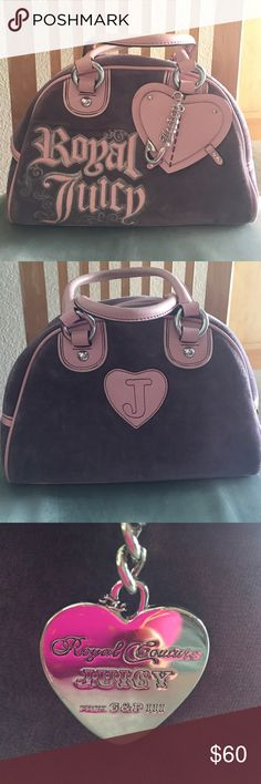 Authentic Juicy couture Royal bag Very cute in Great condition like New only has a small stain on the heart in front not very noticeable can easy clean it with leather cleaner. This is 100 percent Authentic bag real leather handles and trim . Barely used bag. Pink and light purple color with silver. Pristine inside the bag. The size is 11 inches wide 8 inches long. Juicy Couture Bags