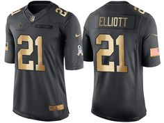 Cowboys #21 Ezekiel Elliott Gold Salute to Service 2016 Christmas Jersey