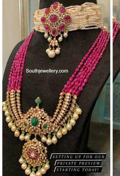 Beaded Jewelry Designs, Indian Jewellery Design, Beaded Jewellery, Beaded Necklace, Gold Necklace, Indian Jewelry Earrings, Gems Jewelry, Jewlery, Fine Jewelry