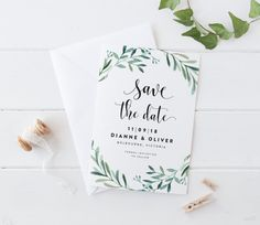 Printable Save The Date Wedding Card, Simple Green Leaves Fern Foliage Wreath Water Color Save The Date Card