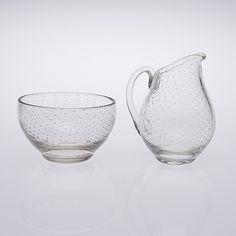 GUNNEL NYMAN, kermakko ja sokerikko, lasia, Nuutajärvi 1900-luvun puoliväli. - Bukowskis Lassi, Bukowski, Glass Design, Sugar Bowl, Bowl Set, Beautiful