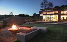 Fire bowl surrounded by benches