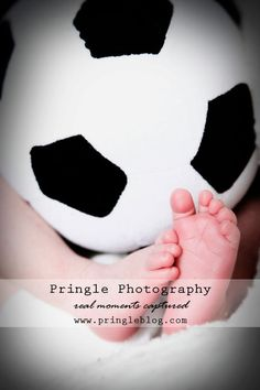 newborn soccer picture but use real soccer ball