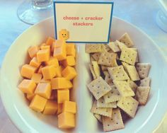 YGG Party idea - DJ Lance's cheese tray - crackers and yellow, orange, and white cheeses