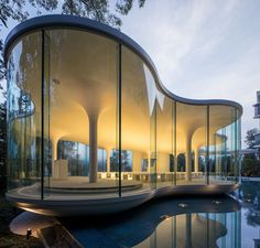 Minimalist Curved Glass Cloud of Luster Wedding Chapel – Himeji, Japan – Architecture Desings – Architecture Modern Architecture Résidentielle, Futuristic Architecture, Amazing Architecture, Contemporary Architecture, Condominium Architecture, Contemporary Design, Chinese Architecture, Sustainable Architecture, Curved Glass
