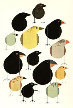 Charley Harper is the best. Darwin's Finches lithograph by Charley Harper. Charley Harper, Art Watercolor, Watercolor Portraits, Watercolor Landscape, Watercolor Flowers, Art Et Illustration, Magazine Illustration, Vintage Illustrations, Art Graphique