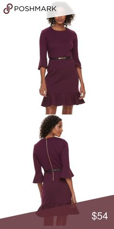 [Sharanago] 20W women's purple sheath dress PRODUCT FEATURES  Ponte fabric  Flounce hem  3/4 bell sleeves  Crewneck  Back zipper  FIT & SIZING  37.25-in. approximate length from shoulder to hem  Falls at the knee  Sheath styling  FABRIC & CARE  Polyester, rayon, spandex  Machine Washable Sharagano Dresses
