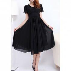 $19.23 Elegant Style V-Neck Ruffle Solid Color Short Sleeve Chiffon Dress For Women